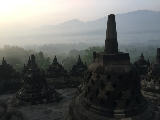 A view at dawn from the top terrace of Borobudur at Yogyakarta, Indonesia