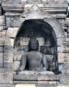 A Dhyani Buddha statue with the Varamudra gesture