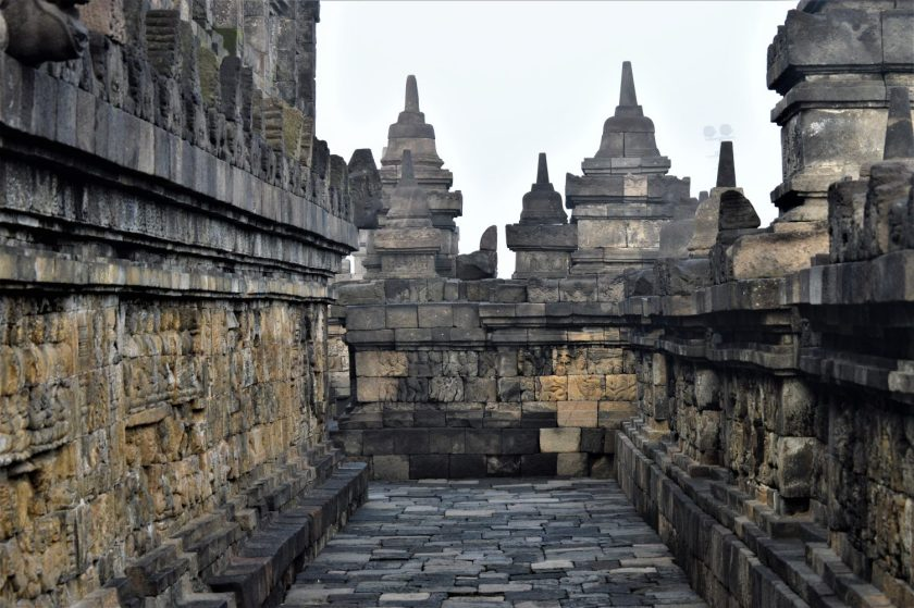Corridor on a terrace of the Rupadhatu layer of the Borobudur Temple in Yogyakarta, Indonesia