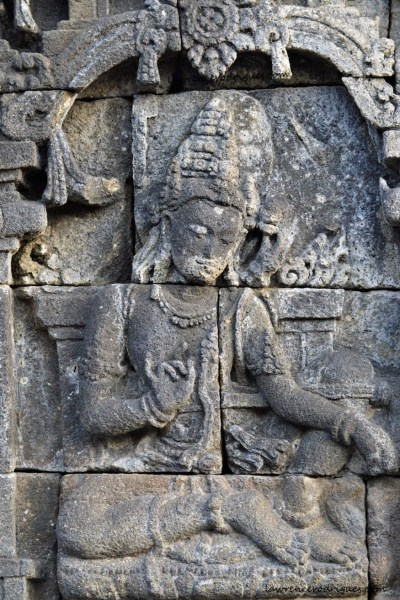 Samantabhadra Bodhisattva bas-relief in the Rūpadhātu layer of Borbudur in Yogyakarta, Indonesia