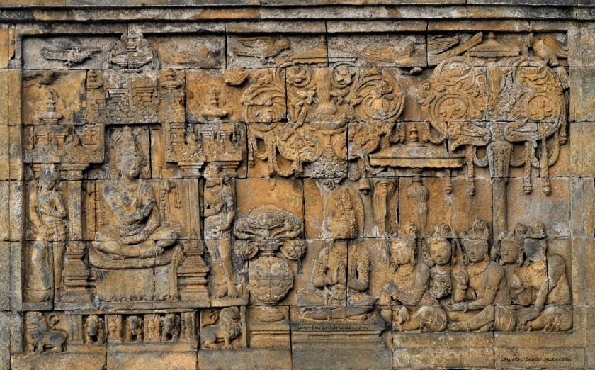 Gandavyūha Story - Bas-relief depicting Sudhana listening to a teacher carved on the Rūpadhātu layer of Borobudur in Yogyakarta, Indonesia