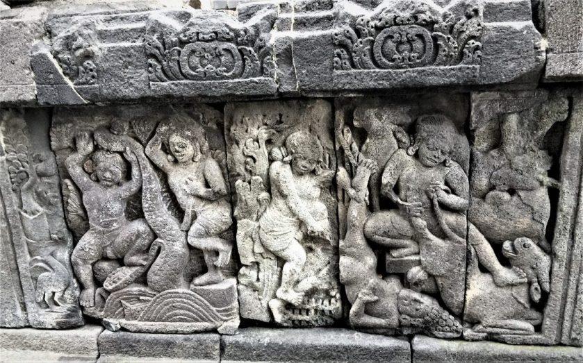 Bas-relief depicting Krishna and Balarama killing demons carved into the inner walls of the Vishnu Temple in Prambanan, Indonesia