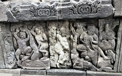 Bas-relief depicting exploits of Krishna and Balarama