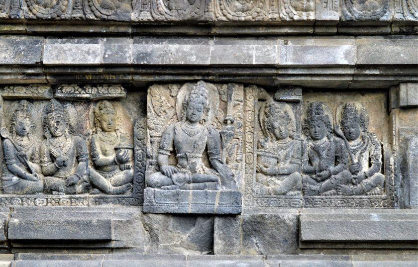 Bas-relief of Lokapala with the Bhumisparsha Mudra (Hand Gesture) in the Shiva Temple in Prambanan, Yogyakarta