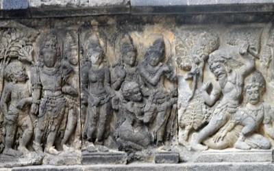 Rama killing Viradha, a rakshasa in Dandakaranya