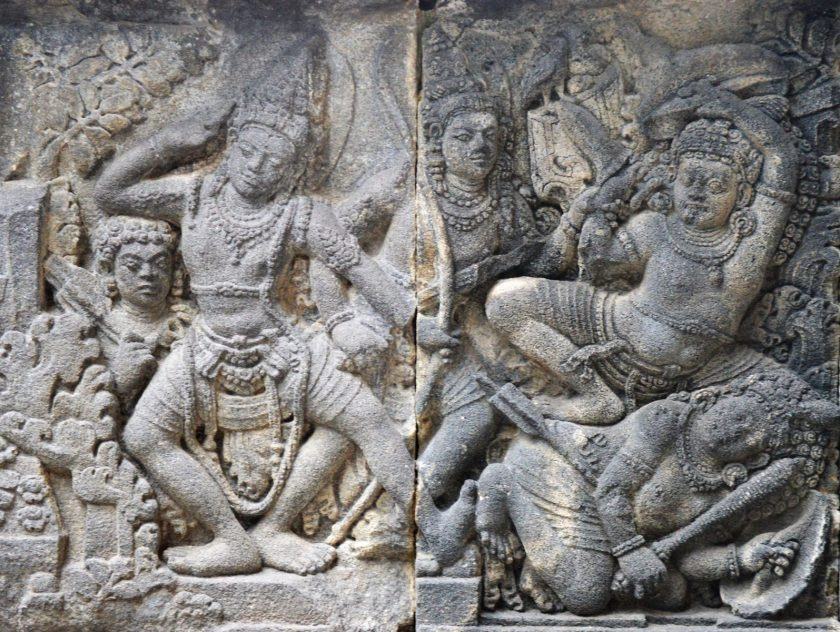 Bas-relief depicting a story from Ramayana in the Shiva Temple located in Yogyakarta, Indonesia