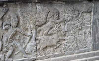 Bas-relief in the Shiva Temle depicting Rama slaying Mareecha who assumed the form of a golden deer