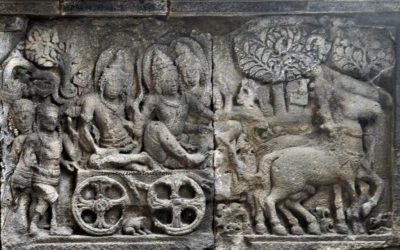 Ramayana Bas-Relief - Rama, Sita and Lakshmana leaving Ayodhya for exile