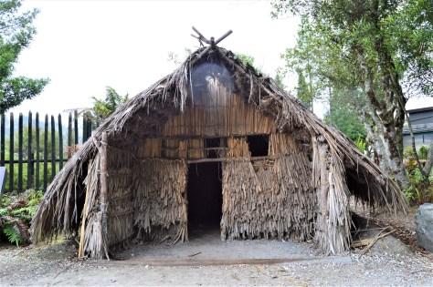 Maori communal sleeping house in the Pikirangi Village located in Te Puia, Roturoa, New Zealand