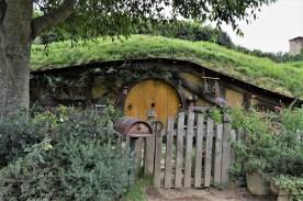 A Yelllow Hobbit Hole in the Hobbiton Movie Set in Matamata, New Zealand