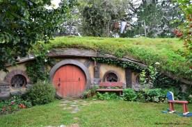 A Red Hobbit Hole in the Hobbiton Movie Set in Matamata, New Zealand
