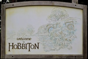 A Welcome Sign at the Hobbiton Movie Set in Matamata, New Zealand