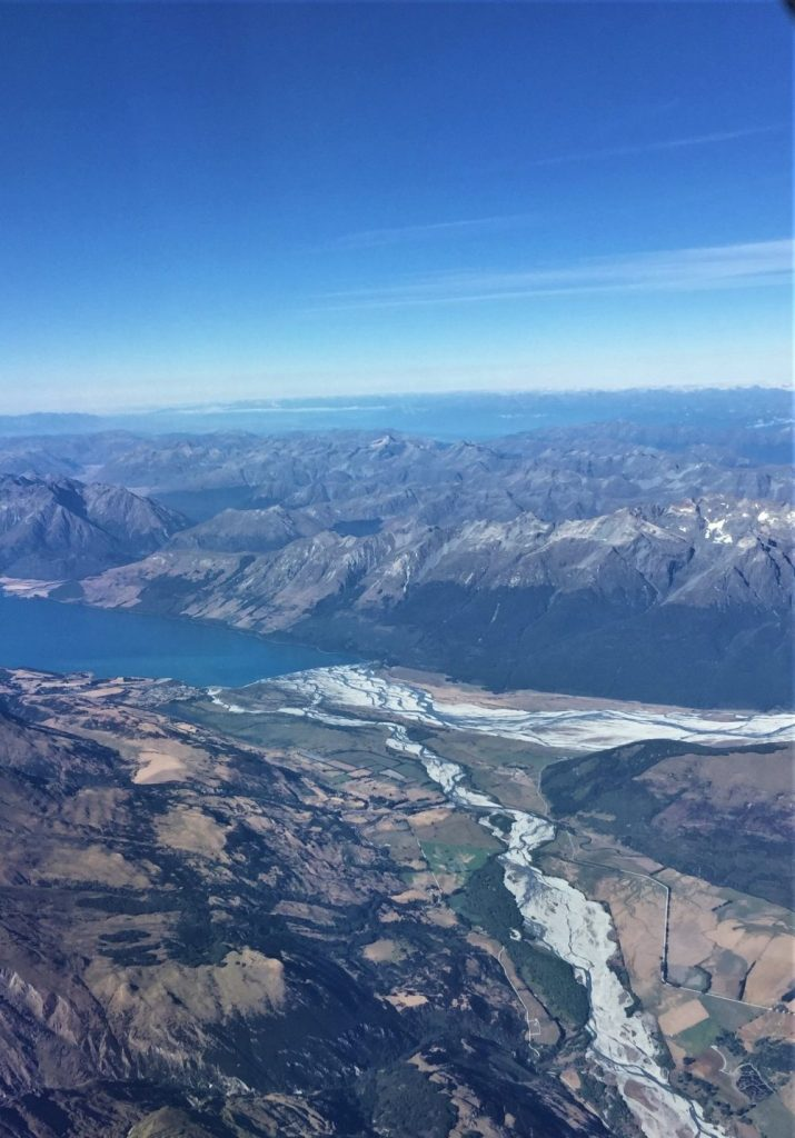 Arial view of Lake Wakatipu located in the South Island of New Zealand