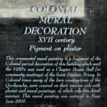 Mural painting found in the Qorikancha Temple complex in Cusco, Peru