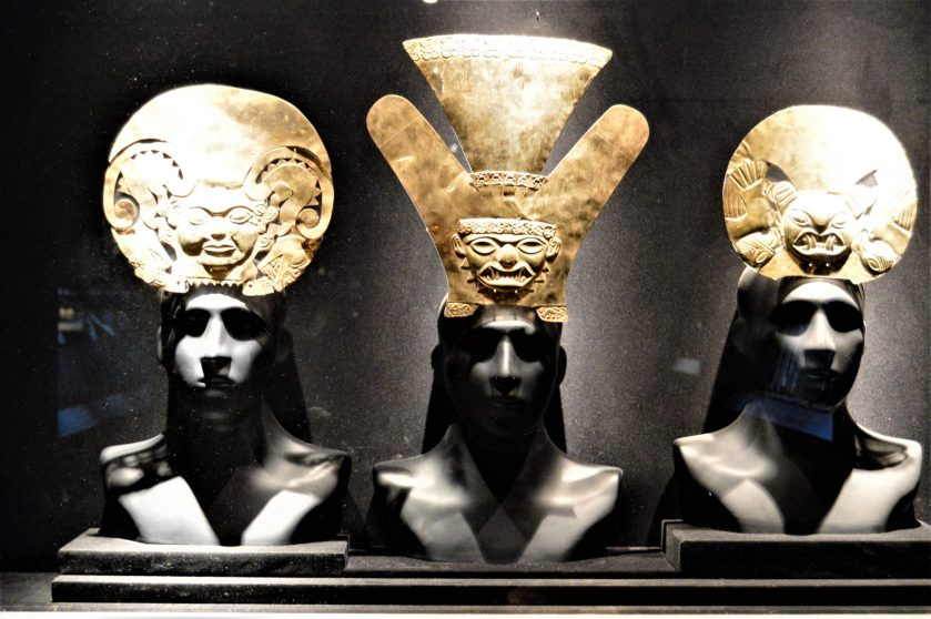 Moche gold head dress on display at Museo Larco in Lima, Peru