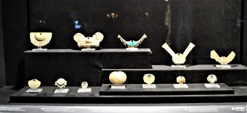 Moche sculptural nose ornaments on display at Museo Larco in Lima, Peru
