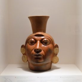 Moche warrior pot on display at Museo Larco in Lima, Peru