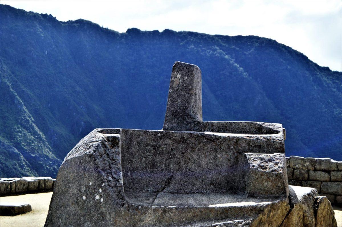 Sacred Inti Watana Stone in Machu Picchu, Peru