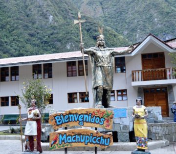 Statue of Pachacuti at Aguas Calientes welcoming to Machu Picchu