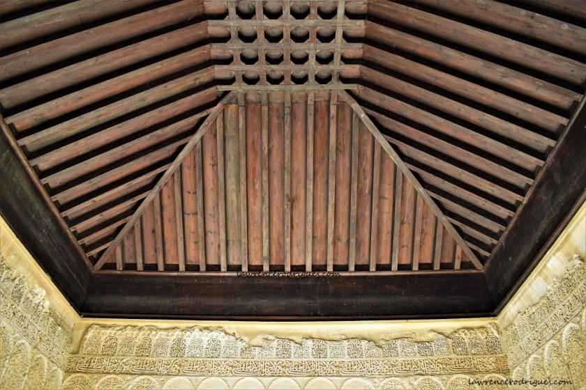 A ceiling in the west side pavilion of Patio de la Acequia in the Generalife, Granada, Spain
