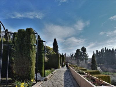 A view of the gardens of the Generalife in Granada, Spain