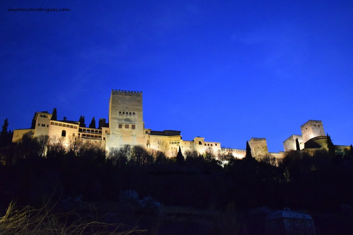 An external view of the Alhambra at night