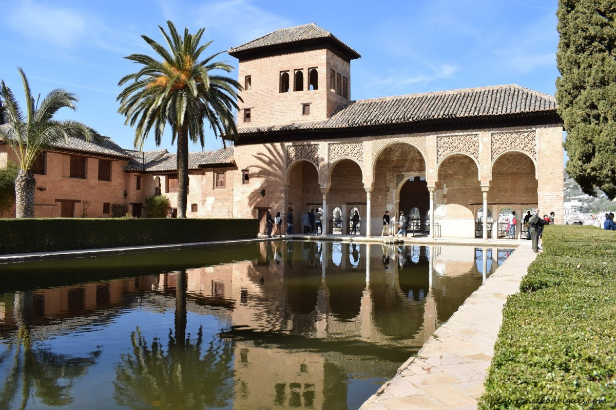 Torre de las Damas (Tower of the Ladies), a building with an open portico located in the Partal Gardens, Alhambra, Granada, Spain