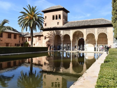 Torre de las Damas (Tower of the Ladies), a building with an open portico located in the Partal Gradens, Alhambra, Granada, Spain
