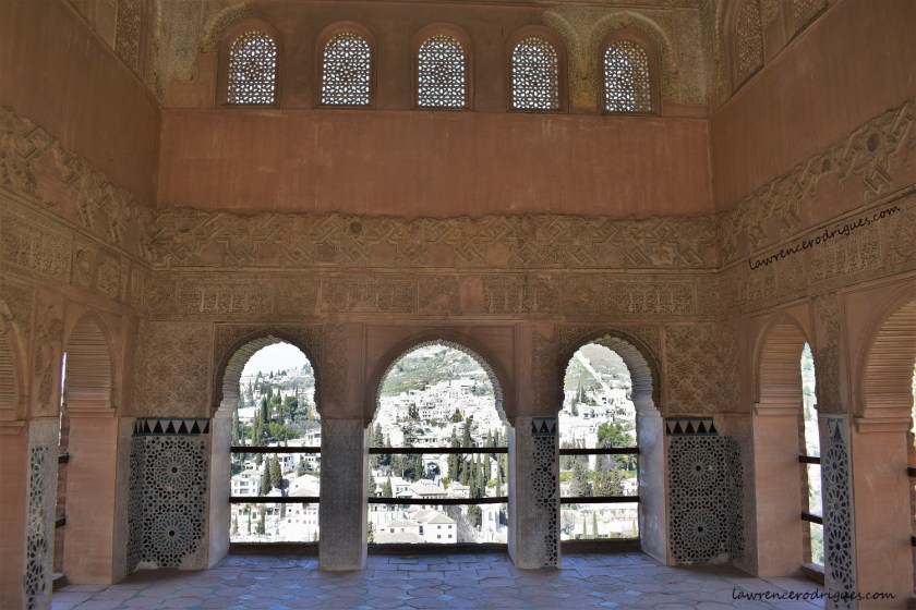An interior view of Torre de las Damas (Tower of the Ladies), a building with an open portico located in the Partal Gradens, Alhambra, Granada, Spain