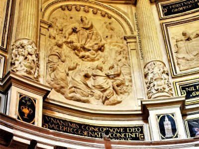 Bas-relief depicting the Mystic Lamb opening the book with the seven seals