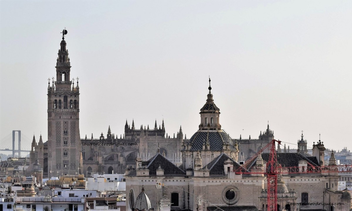 A view of the Seville Cathedral from Las Setas of Seville, Spain