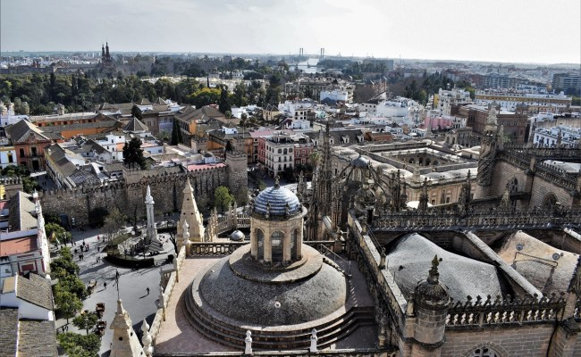 A panoramic view from the belfry of the Giralda in Seville, Andlusia, Spain