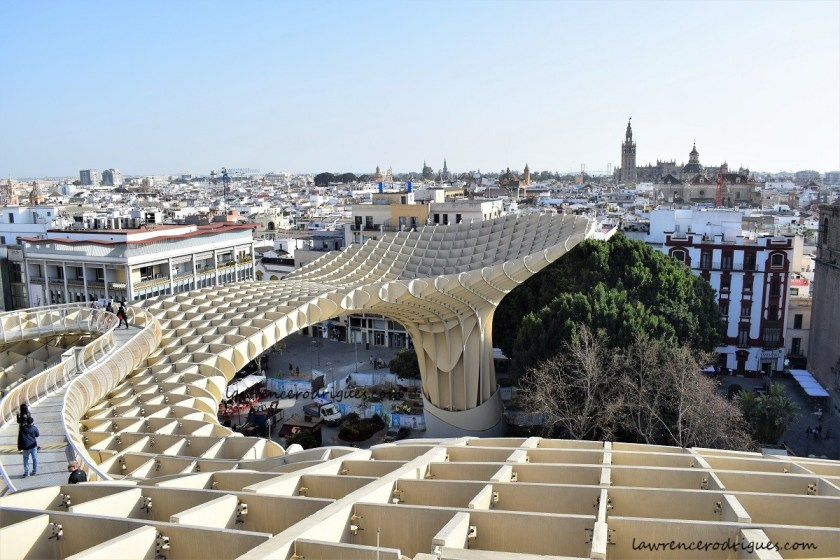 Upper level with walkways of Las Setas, located on the La Encarnación square in Seville, Andalusia, Spain