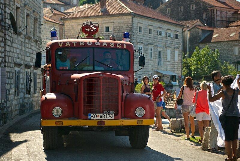 Пожарная машина на улицах города