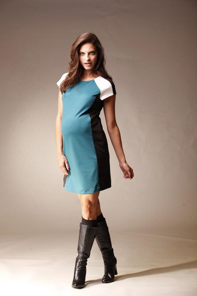 Голубое модное платье для беременных женщин