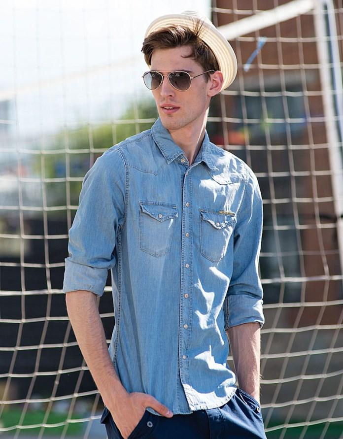 Фото модных джинсовых мужских рубашек