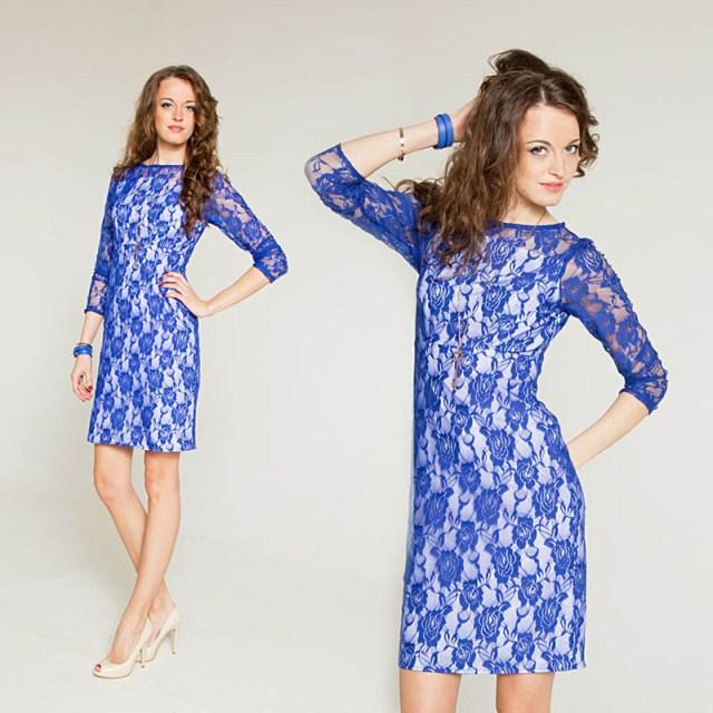 Модное кружевное бело-синее платье