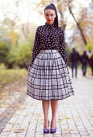 Короткие и длинные юбки в клетку фото – с чем носить юбку в клетку