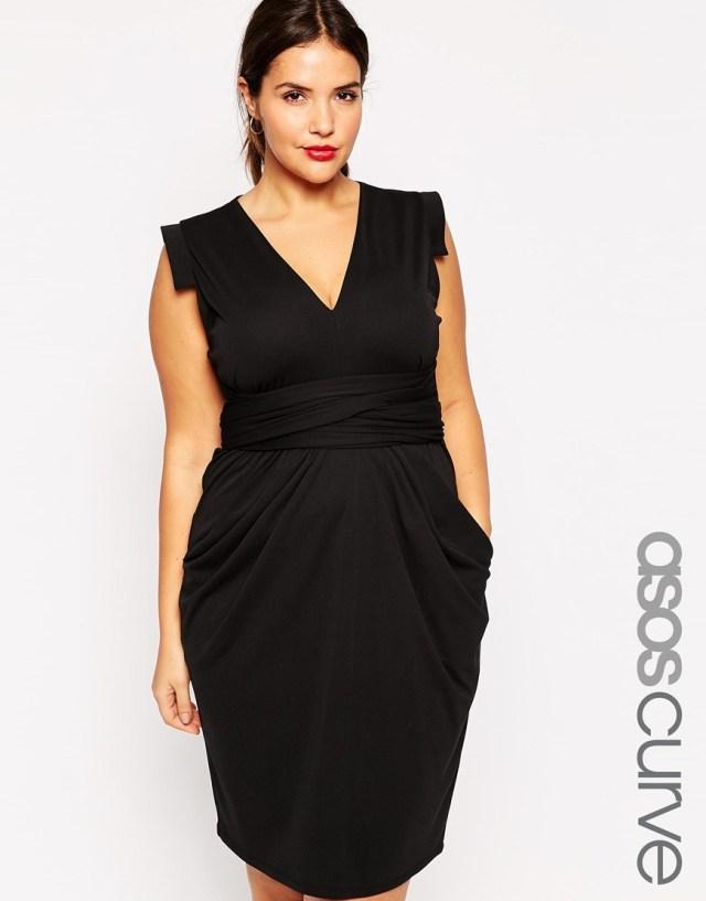 Черное платье 2016 для полных женщин - ASOS CURVE, цена 4 117,63 руб.