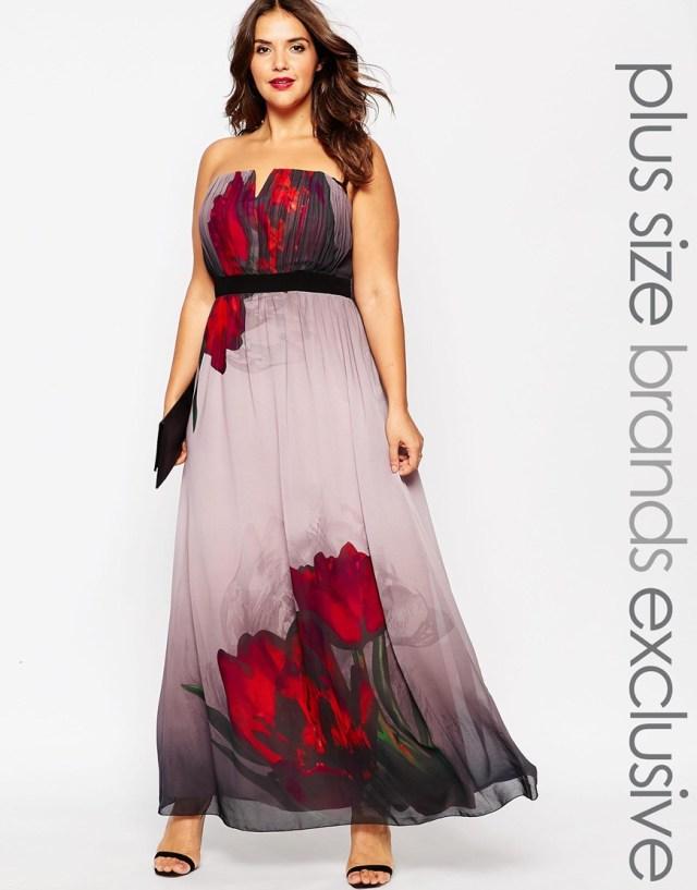 Длинное платье для полных женщин с цветочным узором - Little Mistress Plus, цена 7 647,04 руб.
