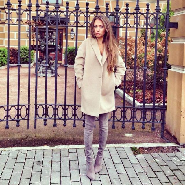 Модное пальто кашемир цвета беж фото новинка сезона