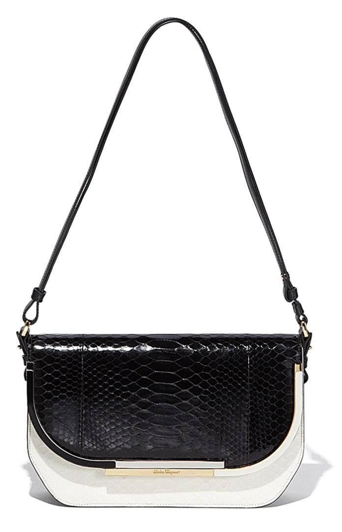 Черно-белая модная сумка Salvatore Ferragamo