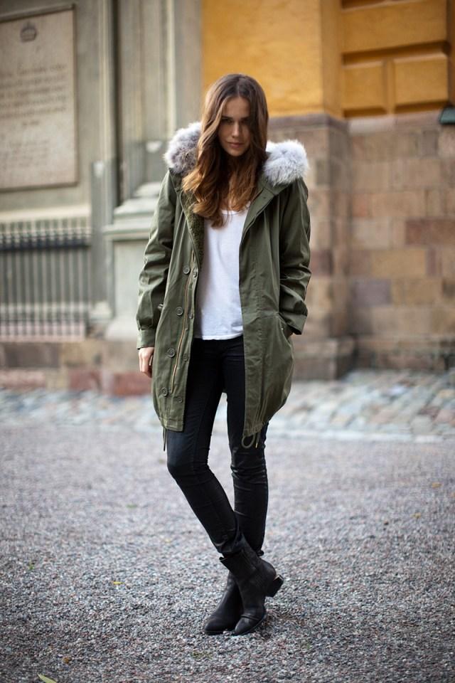 Фото, с чем носить женскую куртку аляску