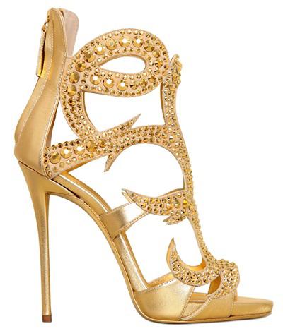 Золотисто-желтые туфли Giuseppe Zanotti - фото новинки из новой коллекции