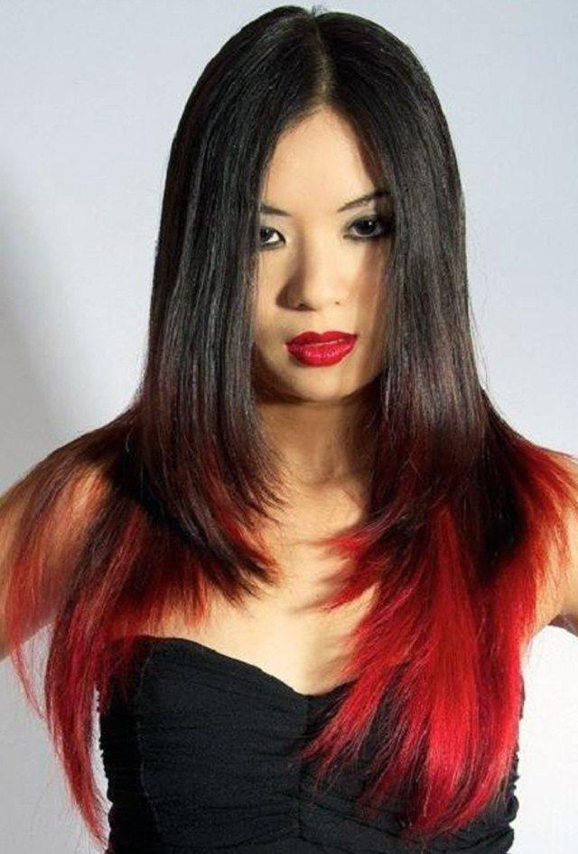 Невероятное окрашивание кончиков волос в красный цвет с модной стрижкой каскад 2016 – фото новинки и тренды сезона