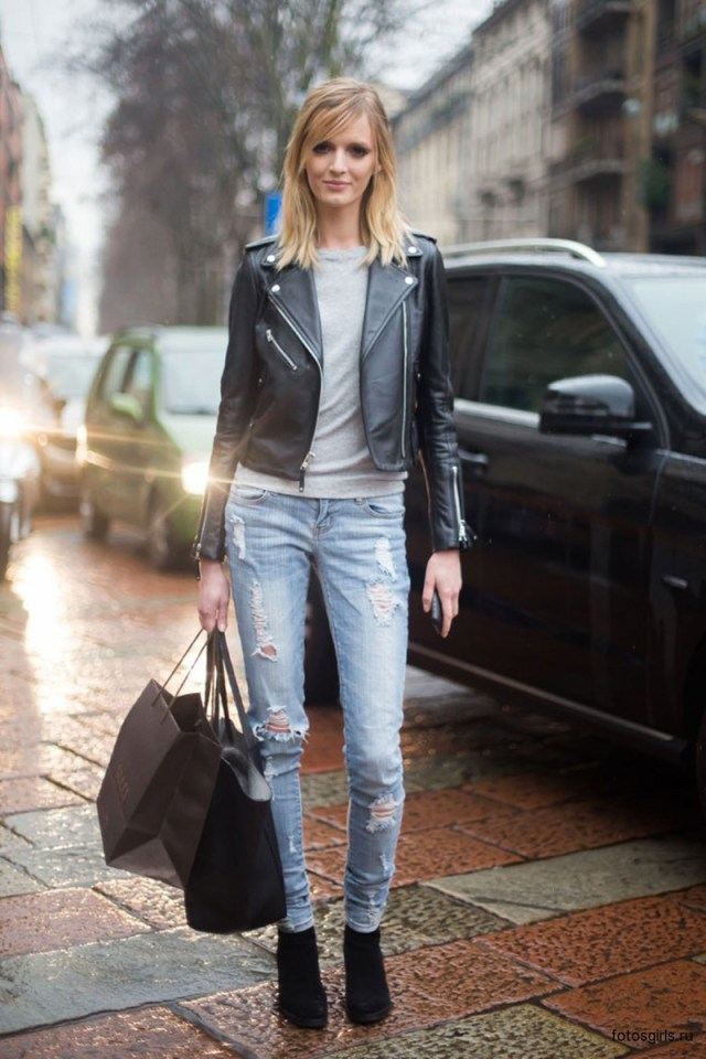 Фото новинки: куртка косуха с рваными джинсами