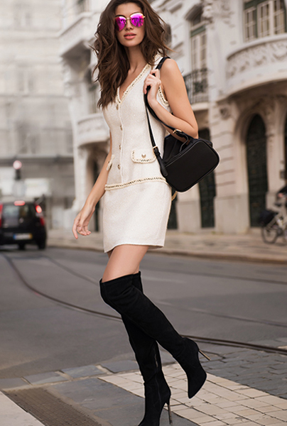 Новая коллекция Love Republic - короткое твидовое платье в стиле Шанель.