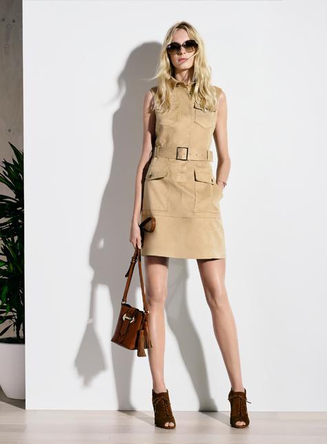Новый модный LookBook весна-лето 2016 Karen Millen - бежевое платье.