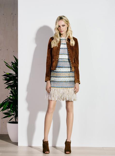 Новый модный LookBook весна-лето 2016 Karen Millen - куртка косуха и платье в полоску.