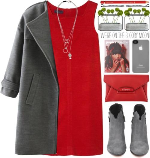 На фрто: яко красное платье с темным жакетом.